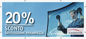 20% di sconto sulla sostituzione del parabrezza