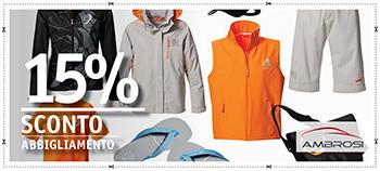 15% di sconto sull'abbigliamento
