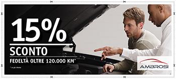 sconto fedeltà 15% per auto oltre 120.000 km